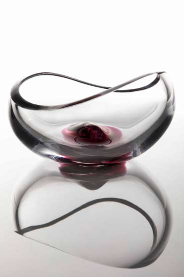 Shallow Vessel with Red Sculptural Element by Angie Packer