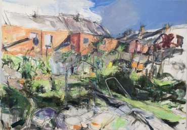 Shelving (painting in progress) by Deborah Ward