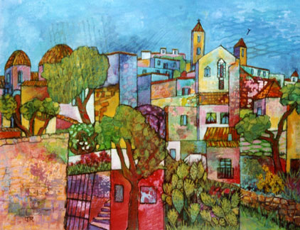 Townscape, Ibiza by Joan Roobottom