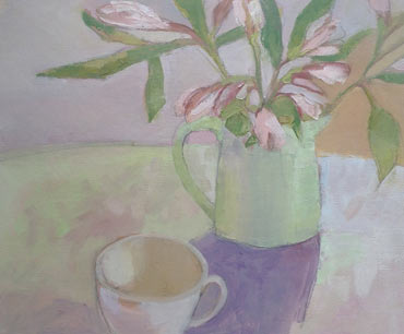 Alstroemeria and Cup by Lesley Brooks