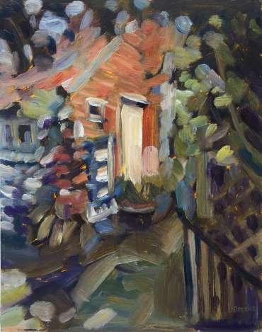 Flint Cottage Door by Lesley Brooks