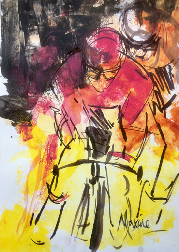 Black, Pink and Yellow by Maxine Dodd
