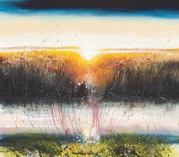 Sunset through Reeds, Rutland Water by Philip Dawson