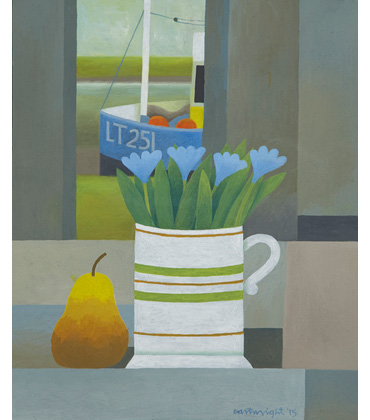 Estuary Still Life with Flowers & Pear by Reg Cartwright