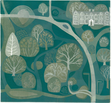 Launde Abbey and Big Wood by Sarah Kirby