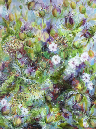 White Nigella and Allium Seedheads by Toni Northcott