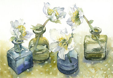 Hellebores in Ink Bottle Vases by Vivienne Cawson