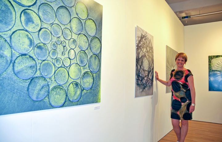 Deborah Bird at her exhibition in Hinckley