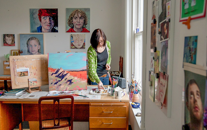 Photograph of Jane French working in her studio
