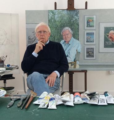 Bryan Organ with his portrait of Sir David Attenborough