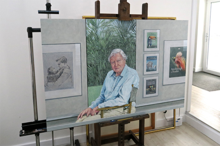 Portrait of David Attenborough in Bryan Organ's studio
