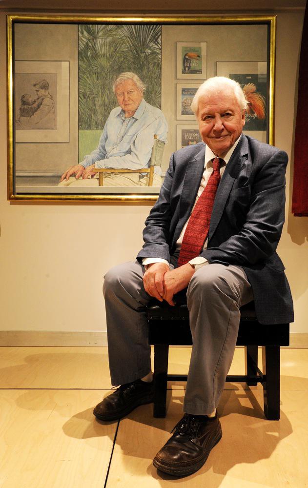 Sir David Attenborough with Bryan Organ's portrait of him