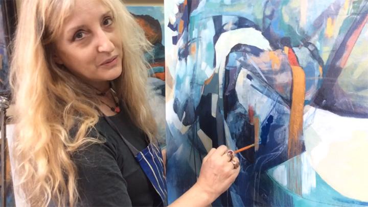 Louise Ellerington working on a painting