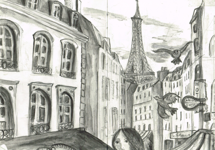 Paris Street scene, drawing by Jane Sunbeam