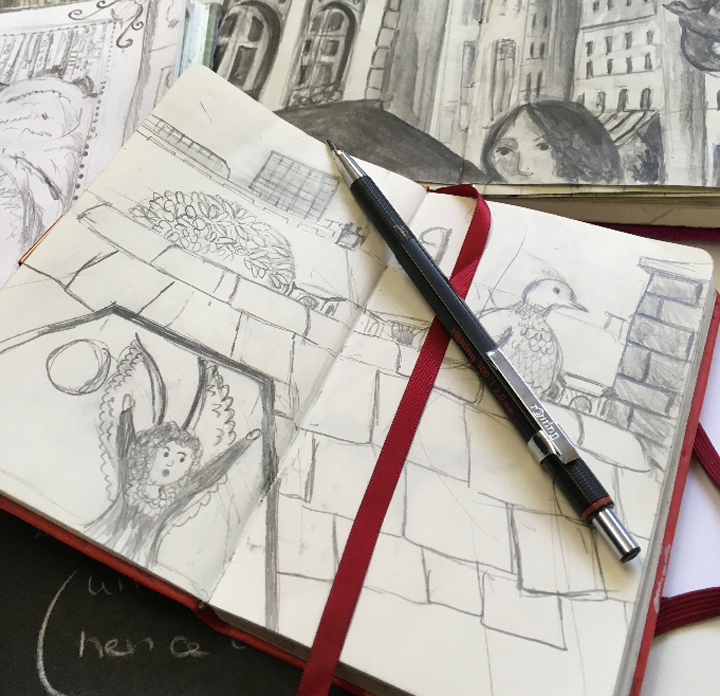 Jane Sunbeam's sketchbook and Rotring pencil