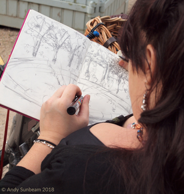 photograph of Jane Sunbeam sketching
