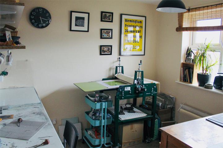 Fiona Humphrey's printmaking studio