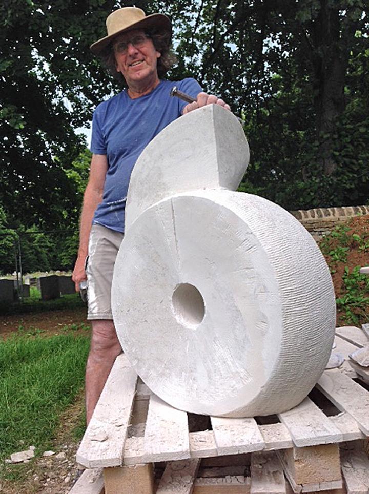 Michael Moralee working on sculpture
