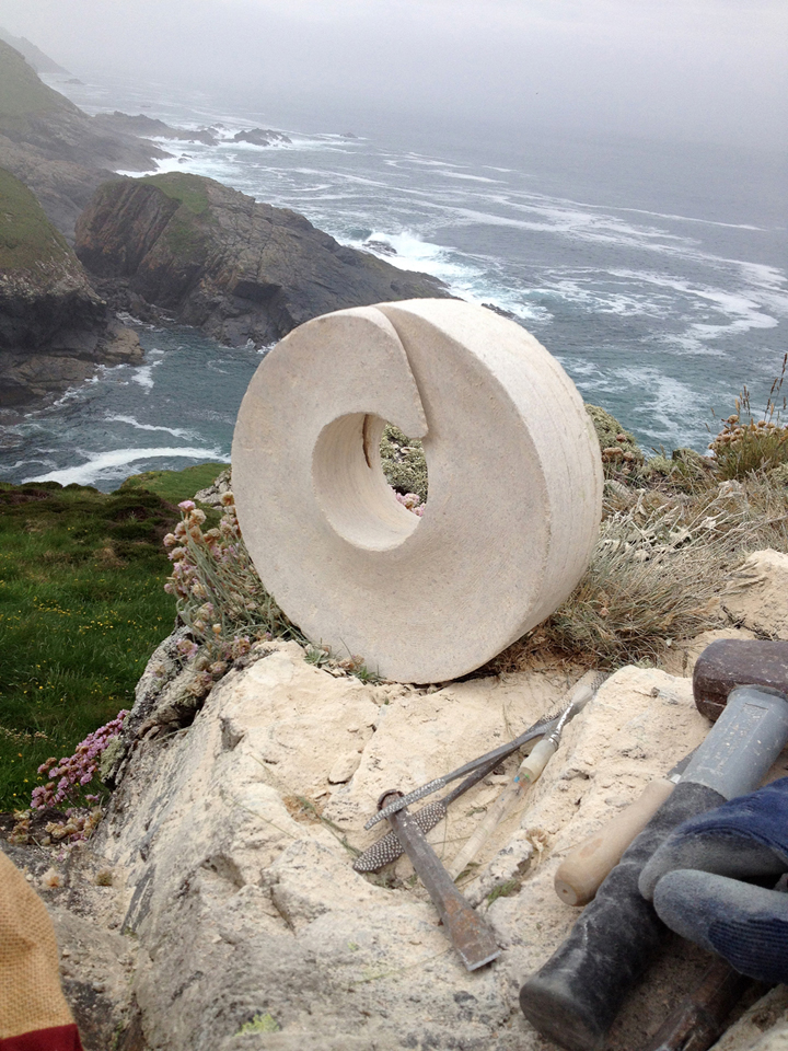Sculpture by Michael Moralee on the Cornish coast