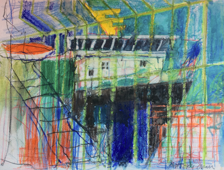 coloured crayon sketch by John Barradell