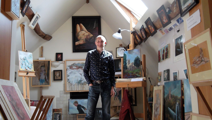 Mark Hancock in his studio in Leicester