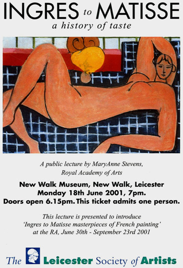 Ingres to Matisse lecture poster 2001
