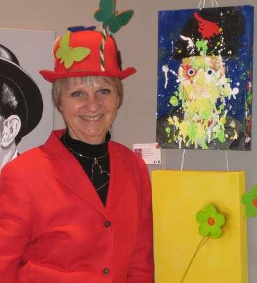 Thumbnail image of Bim Fowler with her works in Slapstick - Slapstick