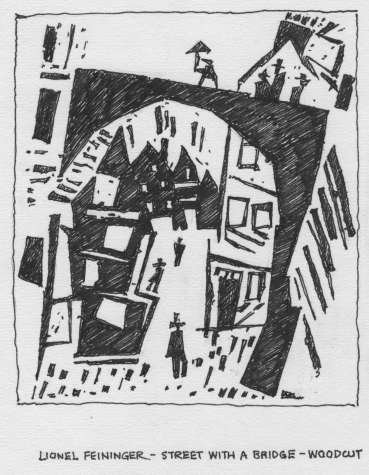 Thumbnail image of Drawing by Peter Sumpter for wall information display: Lyonel Feininger, Street under a Bridge, 1915, woodcut - 125 Years In The Making