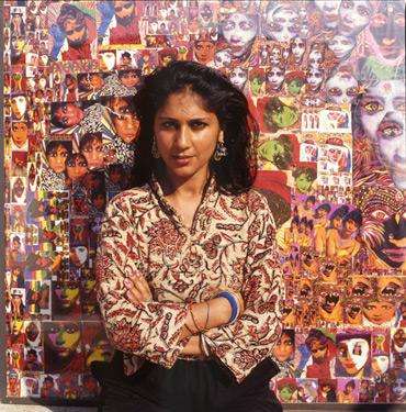 Thumbnail image of Chila Kumari Burman stands infront of her work - Chila Kumari Burman: Artist's Talk