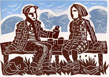 Linocut by Peter Clayton
