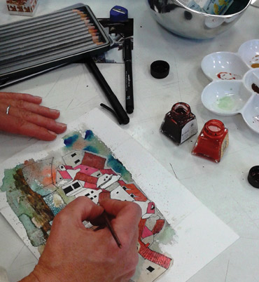 Student painting in Rita Sadler's course