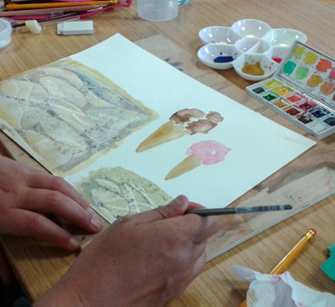 watercolour demonstration by Rita Sadler