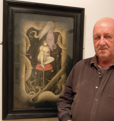 Thumbnail image of Wayne Anderson, Charles Stanley Gold Prize winner, with 'Creatures of the Night' - Annual Exhibition 2016 - Prize Winners