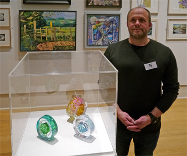 Thumbnail image of Graeme Hawes, Guy Dixon Prize winner, with 'Oriental Blossom', 'Oriental Blossom 2' and 'Oriental Garden' - Annual Exhibition 2016 - Prizes