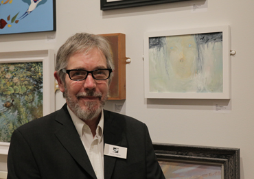Thumbnail image of Dave Pidgeon in front of 'Girl in Constant Fog' - LSA Annual Exhibition 2017