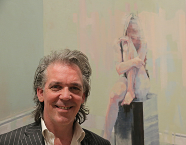 Thumbnail image of Scott Bridgwood in front of 'Seated Figure' - LSA Annual Exhibition 2017
