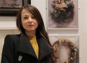 Thumbnail image of Stefania Laccu in front of 'Psychosomatic Skin Disorders' (triptych) - LSA Annual Exhibition 2017