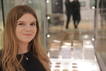 Thumbnail image of Sarah Charlton beside 'Cube Collection' and 'Samples Collection' - LSA Annual Exhibition 2017