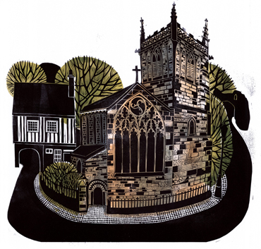 Thumbnail image of Sarah Kirby, 'St Mary de Castro and Castle Yard' (detail), linocut - LSA Annual Exhibition 2017