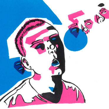 Thumbnail image of Tristan Angus, Leicester College, 'Self Portrait', screenprint, winner of - Little Selves - Prizes
