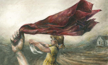 Thumbnail image of Becky Hayley, Oakham School, 'The Red Scarf', watercolour & pencil, - Little Selves  Exhibition Prizes