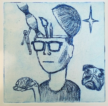 Thumbnail image of Sean Johnson, Gateway College, 'Self Portrait', etching - Little Selves - Prizes