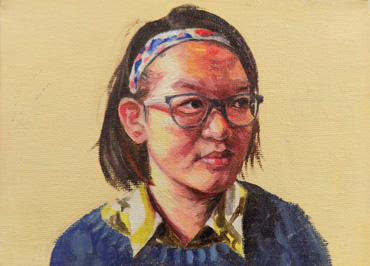 Thumbnail image of Yuanqing Zhang, Leicester High School for Girls, 'Self Portrait', oil on canvas, winner of the Student Painting Prize - Little Selves  Exhibition Prizes