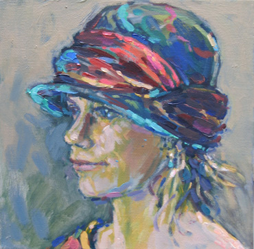 Thumbnail image of Sue Sansome RBSA - LSA member - 'Polly in my cloche hat' - Little Selves