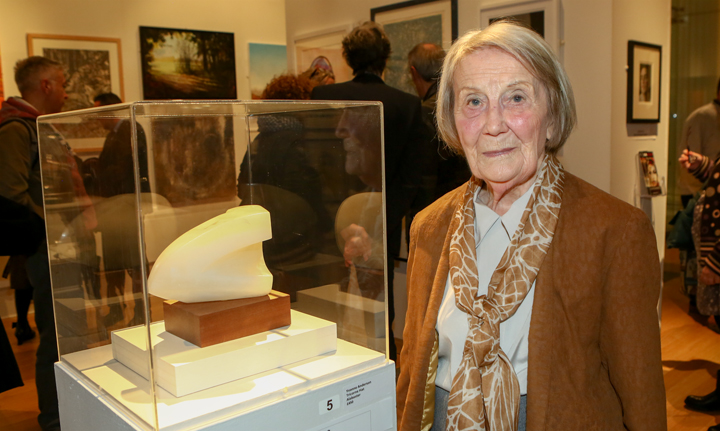 Yvonne Anderson with her winning Burgess Prize sculpture