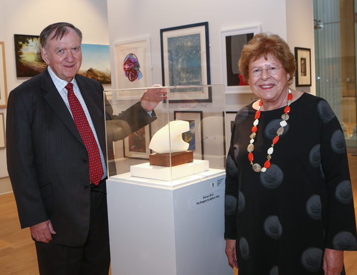 Sir Bob Burgess and Prof Hilary Burgess with the Burgess sculpture prize
