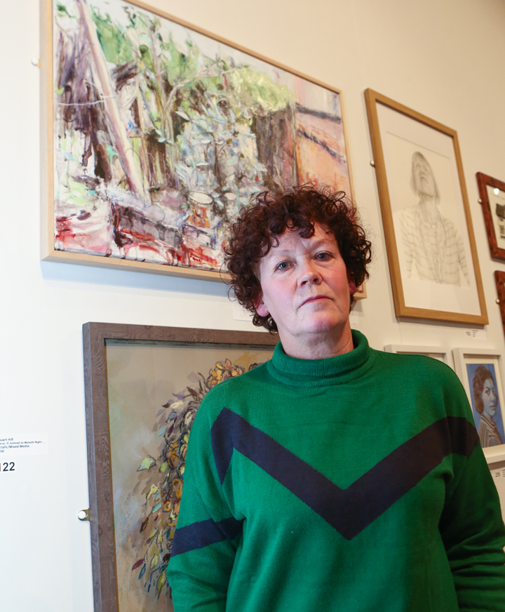 Deborah Ward in front of her prize-winning work