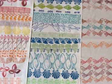 Block printed teatowels by Jay Seabrook