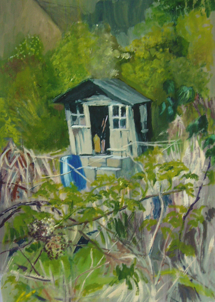 Anthony Beber - a painting from the Allotment Hut series
