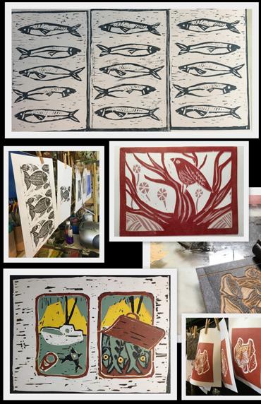 Jo Sheppard image -student lino prints